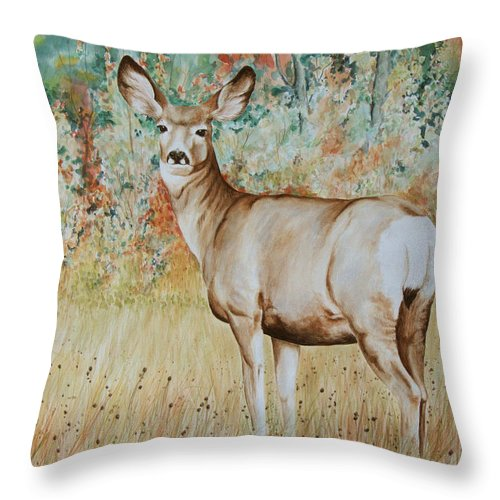 Wildlife Throw Pillow featuring the painting Autumn Beauty- Mule Deer Doe by Elaine Booth-Kallweit