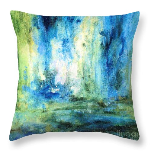 Art Throw Pillow featuring the painting Spring Rain by Laurie Rohner