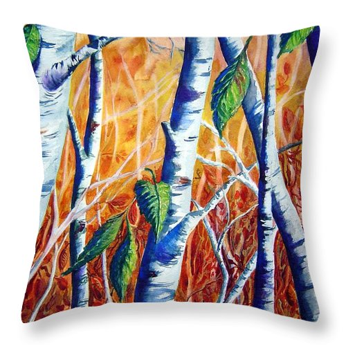 Autumn Birch Trees Throw Pillow featuring the painting Autumn Birch by Joanne Smoley