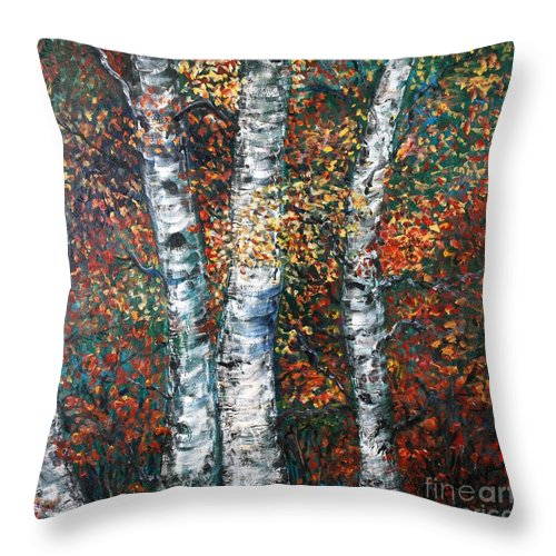 Birch Throw Pillow featuring the painting Autumn Birch by Nadine Rippelmeyer