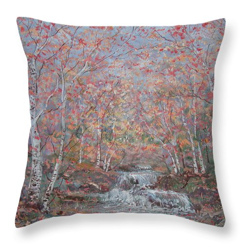 Landscape Throw Pillow featuring the painting Autumn Birch Trees. by Leonard Holland
