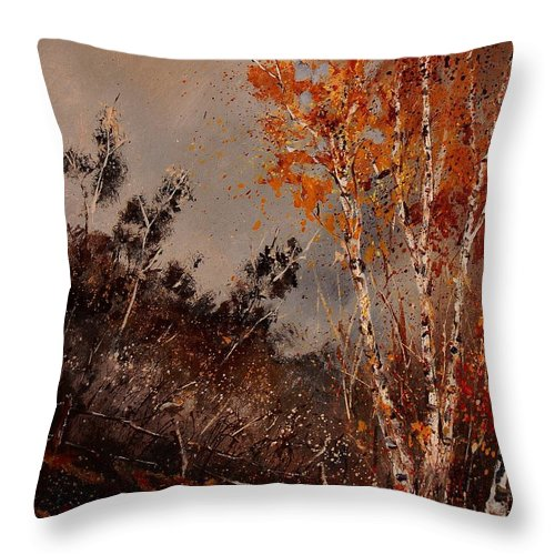 Tree Throw Pillow featuring the painting Autumn Birches by Pol Ledent