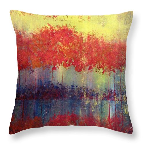 Abstract Throw Pillow featuring the painting Autumn Bleed by Ruth Palmer