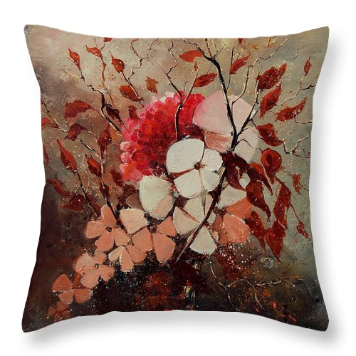 Flowers Throw Pillow featuring the painting Autumn Bunch by Pol Ledent
