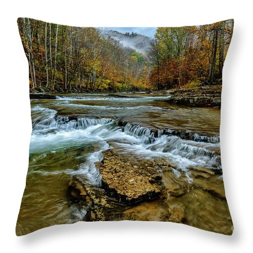 Cherry Falls Throw Pillow featuring the photograph Autumn Cherry Falls Elk River by Thomas R Fletcher