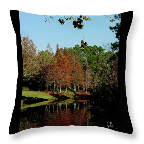 Autumn Throw Pillow featuring the photograph Autumn Color Reflected by Shirley Heyn