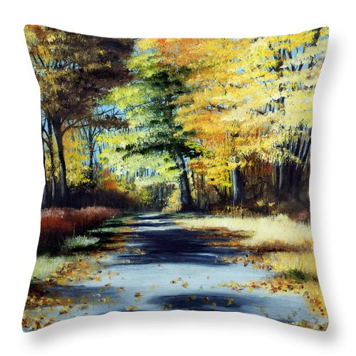 Landscape Throw Pillow featuring the painting Autumn Colors by Paul Walsh