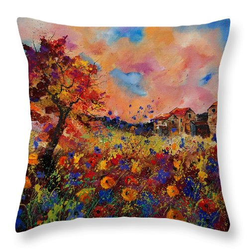 Poppies Throw Pillow featuring the painting Autumn Colors by Pol Ledent