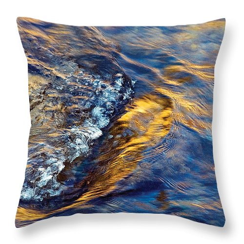 River Throw Pillow featuring the photograph Autumn Colors River Rapids by Steve Somerville