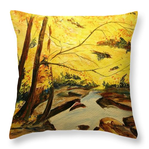 Trees In Autumn Throw Pillow featuring the painting Autumn Colours by Lizzy Forrester