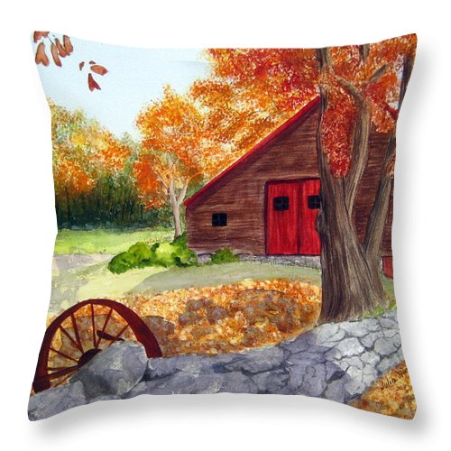 Barn Throw Pillow featuring the painting Autumn Day by Julia RIETZ