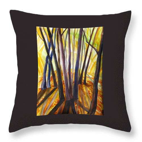 Nature Throw Pillow featuring the painting Autumn Design by Anna Duyunova