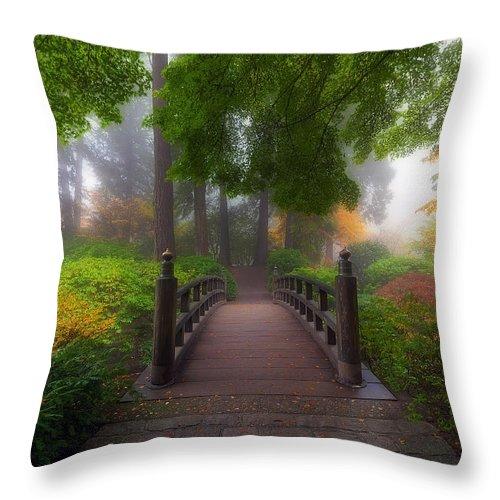 Moon Bridge Throw Pillow featuring the photograph Autumn Dream by David Gn