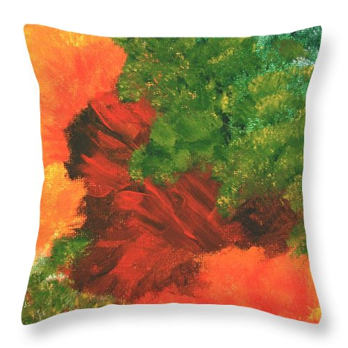 Abstract Throw Pillow featuring the painting Autumn Equinox by Itaya Lightbourne