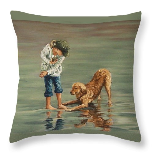 Girl Kid Child Figurative Dog Sea Reflection Playing Water Beach Throw Pillow featuring the painting Autumn Eve by Natalia Tejera