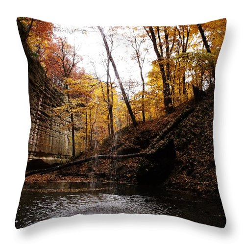 Waterfall Throw Pillow featuring the photograph Autumn Falls IIi by Anna Villarreal Garbis