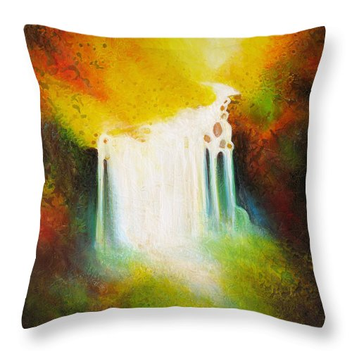 Waterfalls Throw Pillow featuring the painting Autumn Falls by Jaison Cianelli