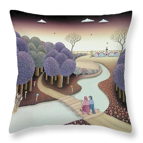 Forest Throw Pillow featuring the painting Autumn by Ferenc Pataki