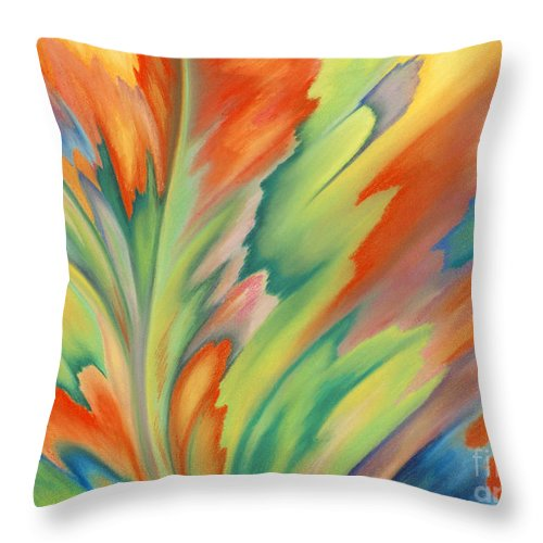Abstract Throw Pillow featuring the painting Autumn Flame by Lucy Arnold