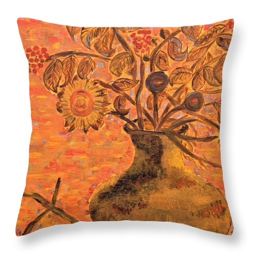 Flowers Throw Pillow featuring the mixed media Autumn Flowers by Christina McNee-Geiger
