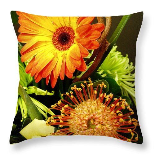 Autumn Throw Pillow featuring the photograph Autumn Flower Arrangement by Nancy Mueller