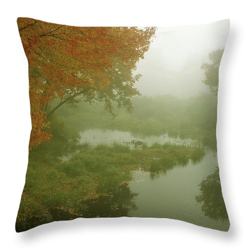 Autumn Throw Pillow featuring the photograph Autumn Fog Millers River by John Burk