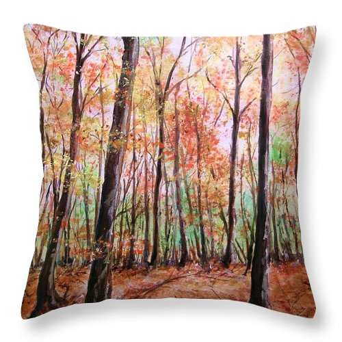 Landscape Throw Pillow featuring the painting Autumn Forrest by Lizzy Forrester