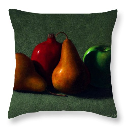 Still Life Throw Pillow featuring the painting Autumn Fruit by Frank Wilson