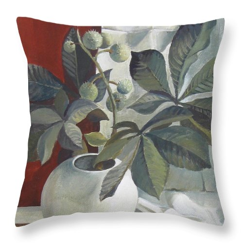 Still Life Throw Pillow featuring the painting Autumn Fruits by Elena Oleniuc