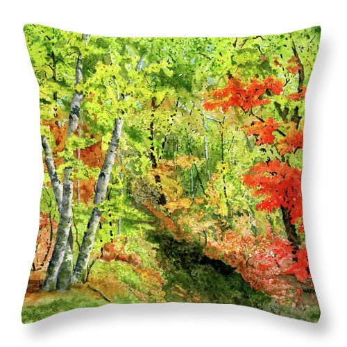 Autumn Throw Pillow featuring the painting Autumn Fun by Mary Tuomi
