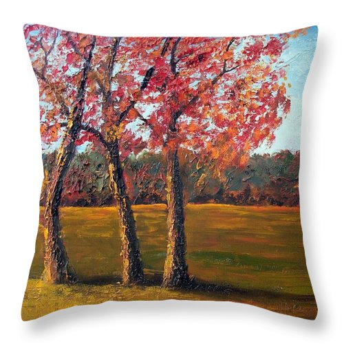 Landscape Throw Pillow featuring the painting Autumn Glow by Tami Booher