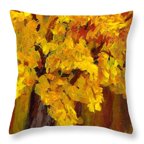 Autumn Throw Pillow featuring the painting Autumn Glow by Wanda Pepin