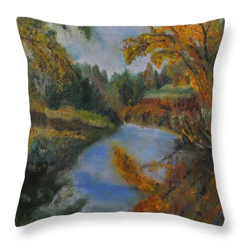 Autumn Throw Pillow featuring the painting Autumn Gold by Keith Zudell
