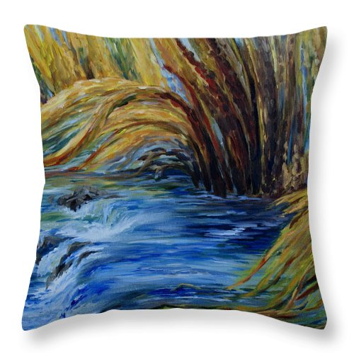Autumn Grasses Throw Pillow featuring the painting Autumn Grasses by Joanne Smoley