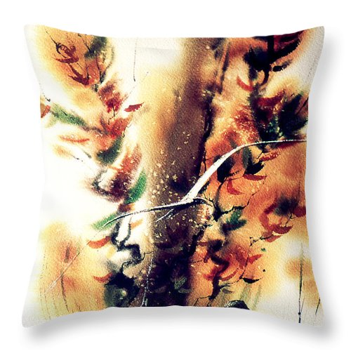 Large Seagull Throw Pillow featuring the painting Autumn Gul by Jacob Krapowicz