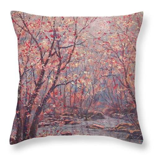 Landscape Throw Pillow featuring the painting Autumn Harmony. by Leonard Holland