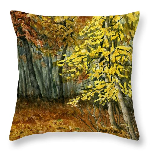 Landscape Throw Pillow featuring the painting Autumn Hollow I by Mary Tuomi