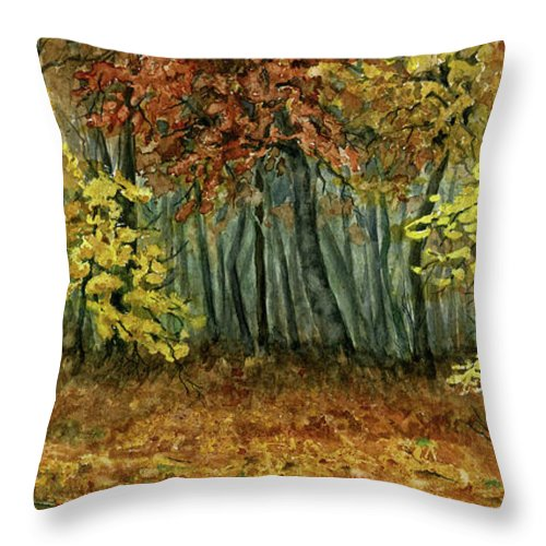 Autumn Throw Pillow featuring the painting Autumn Hollow by Mary Tuomi