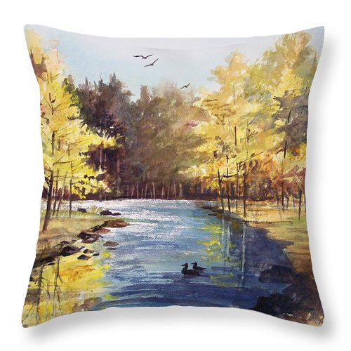 Watercolor Throw Pillow featuring the painting Autumn Impressions by Ryan Radke