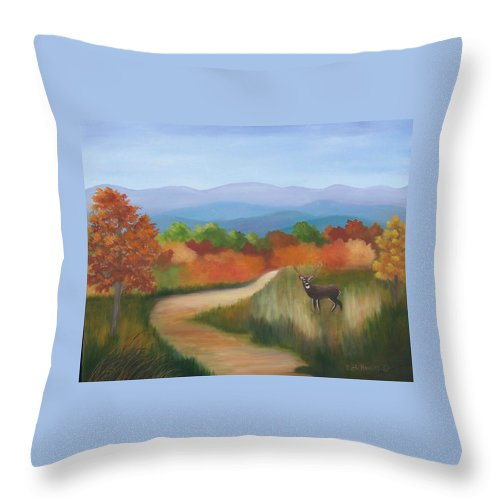 Mountains Throw Pillow featuring the painting Autumn In Blue Ridge Mountains Virginia by Ruth Housley