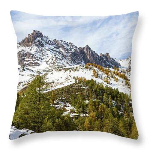 Mountain Landscape Throw Pillow featuring the photograph Autumn In French Alps - 18 by Paul MAURICE