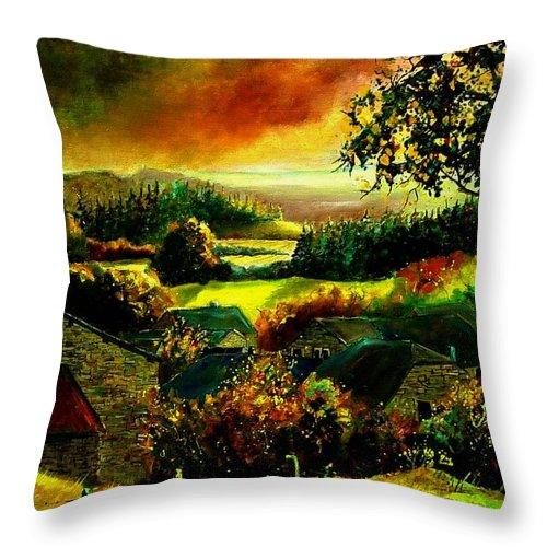 Landscape Throw Pillow featuring the painting Autumn In Our Village Ardennes by Pol Ledent