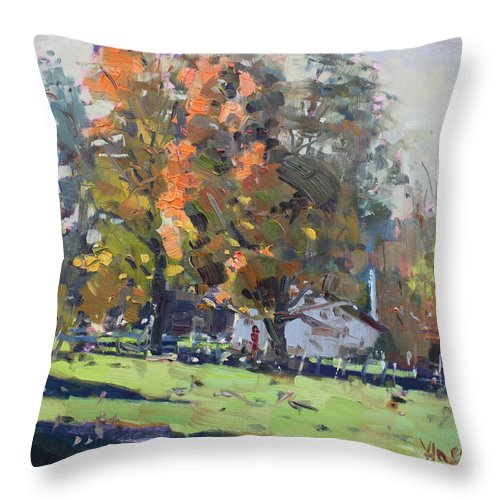 Autumn Throw Pillow featuring the painting Autumn In The Farm by Ylli Haruni