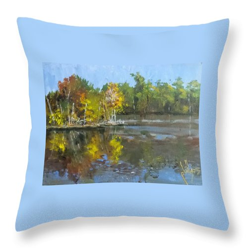 Lake Throw Pillow featuring the painting Autumn In The Rock Quarry by Jim Phillips