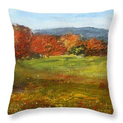 Landscape Throw Pillow featuring the painting Autumn Is Here by Tami Booher