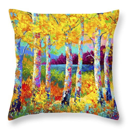 Trees Throw Pillow featuring the painting Autumn Jewels by Marion Rose