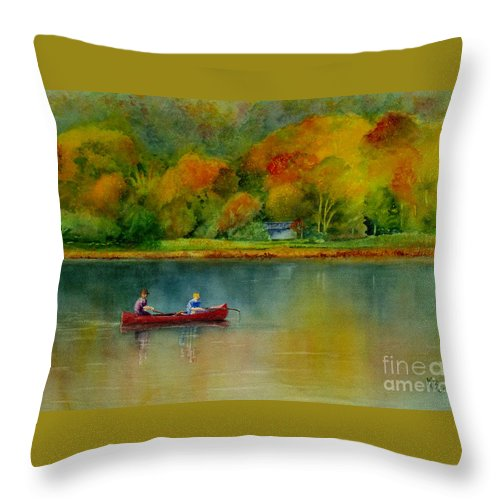New England Throw Pillow featuring the painting Autumn by Karen Fleschler