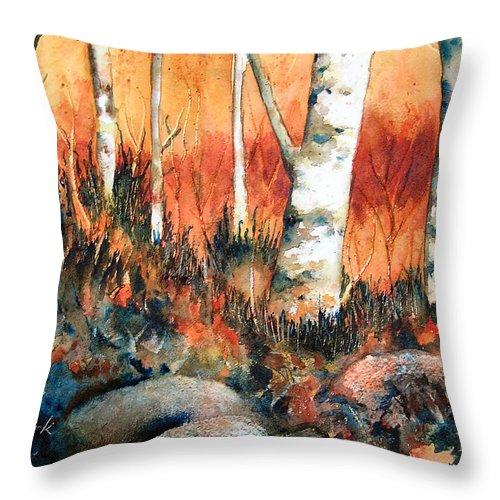 Landscape Throw Pillow featuring the painting Autumn by Karen Stark