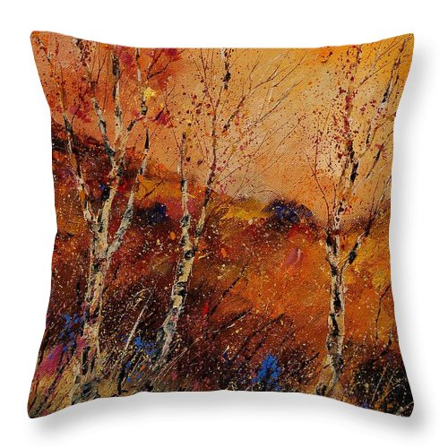 Tree Throw Pillow featuring the painting Autumn Landscape 45 by Pol Ledent