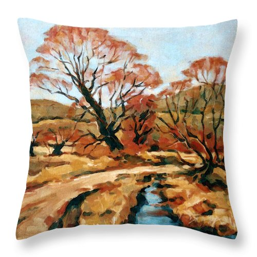 Landscape Throw Pillow featuring the painting Autumn Landscape by Iliyan Bozhanov